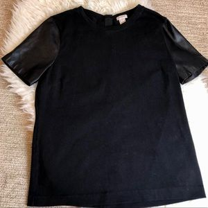J Crew Top With Faux Leather Sleeves